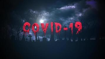 Text covid-19 auf Horrorhintergrund video