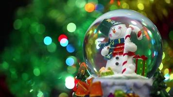 esfera do boneco de neve e bokeh video