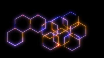Processing System Moves Along Big Hexagons Background