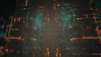 chip de computador, fundo cyberpunk video