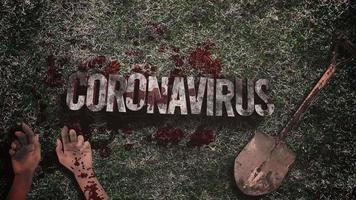 coronavirus-tekst met donker bloed, handen en schop