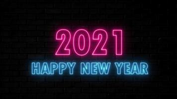 Neon light movement text happy new year 2021 blue and pink running loops video