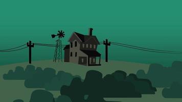 animering tecknad hus på gården