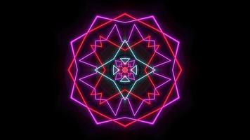 neón geométrico cuadrado y líneas video