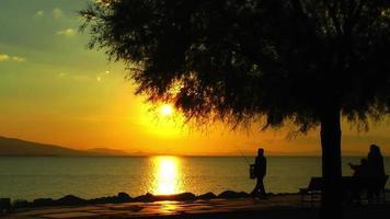 puesta de sol y silueta de personas video