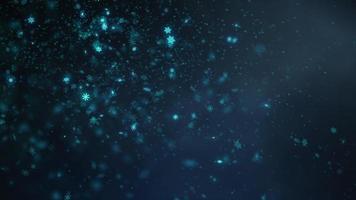 flocons de neige de lumière bleue rougeoyante tombant