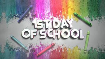 texto 1º dia de aula e giz colorido no quadro-negro