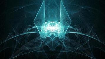 wireframe simétrico azul sci-fi abstrato
