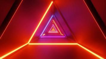 corredor de luz laser interdimensional triangular 4k uhd renderização 3D vj loop video