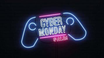 Fondo de letrero de neón de venta Cyber Monday. video