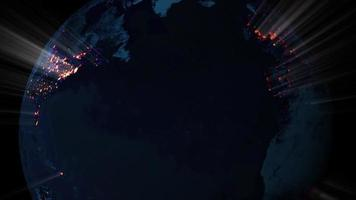 Earth In Space With City Lights