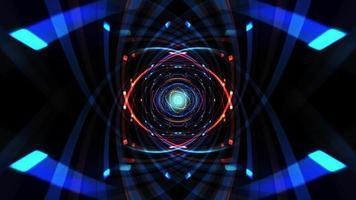 blau-rotes Neonlicht verfolgt Matrixtunnel