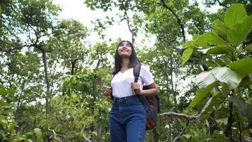 mujer asiática, viajero, mirar alrededor, bosque