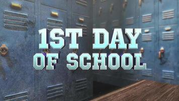 tekst 1e schooldag boven de kleedkamer van de school