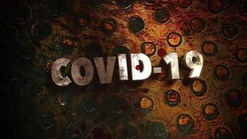 tekst covid-19 op donkere achtergrond met bloed