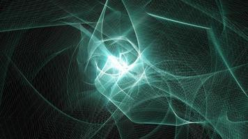 comunicación futurista dinámica ciberespacio azul-verde estructura metálica ondulada