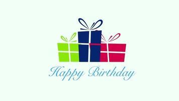feliz cumpleaños texto y coloridas cajas de regalo
