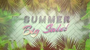 Summer Big Sale on tropical background video