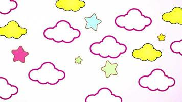 Abstract kawaii colorful sky cloud and stars background