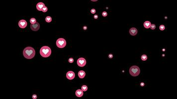 Pink hearts floating on black background.