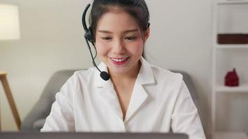 Businesswoman wearing headset of customer support.