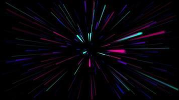 uma luz colorida raiando do centro em um fundo preto à noite.