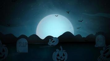 animação de halloween com túmulos, caveiras, morcegos e a lua grande
