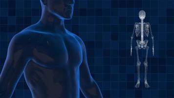 esqueleto y humano digital 3d para tecnología médica video