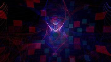 Grade cibernética vermelho azul ondulado linhas padrão em mosaico