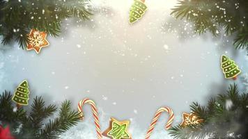 winter achtergrond met takken en speelgoed video