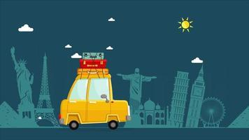 Animated Car with luggage travels go to around the world