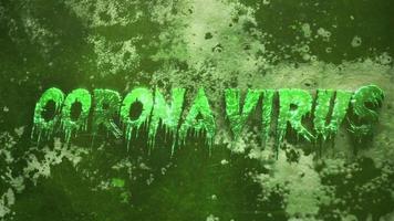 Text Coronavirus auf dunkelgrünem Hintergrund