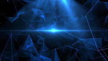 Blue polygons in dark background video
