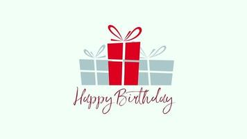 feliz cumpleaños texto y cajas de regalo
