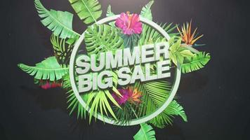 Text Summer Big Sale and tropical flowers video