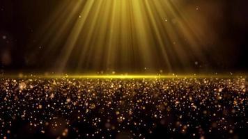 luz que brilla sobre partículas de polvo de oro