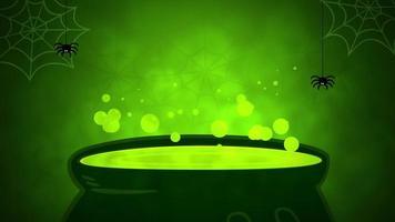 en grön dryck som kokar på en stor kruka video