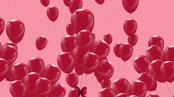 balões rosa flutuando lentamente em um fundo rosa