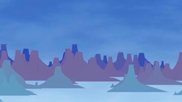 Comic-Berge und blaue Wolken