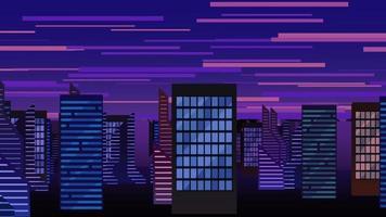 paisaje urbano abstracto con nubes de movimiento y edificios video