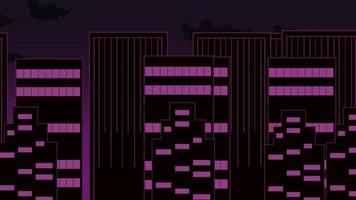 paisaje urbano de dibujos animados con edificios en movimiento y nubes video