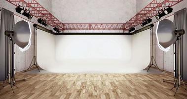 um fundo branco e uma lâmpada em uma sala moderna para uma sessão de fotos