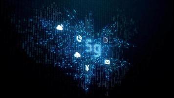 5 G Network on Digital Binary China Map video