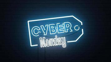 fundo de sinal de néon de venda de segunda feira cibernética