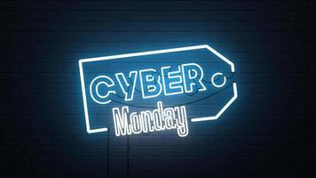 fond de signe au néon vente cyber lundi