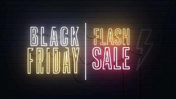 Black Friday Sale Flash Sale Neon Sign Background video