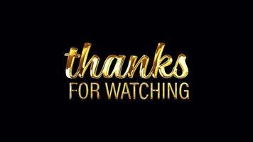 obrigado por assistir o texto dourado com movimentos leves video