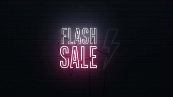 fondo de letrero de neón de venta flash video