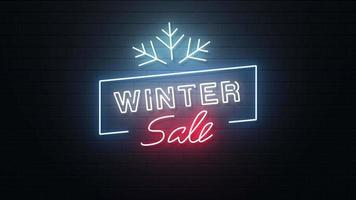 Winter Sale Neon Sign Background