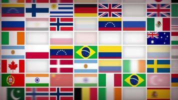 Hintergrundschleife der Flaggenikonen der Weltländer
